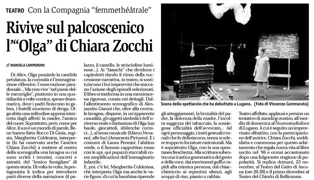 Olga di Chiara Zocchi, regia Rocco Di Gioia